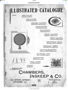 Cover of an eyewear catalog from 1895