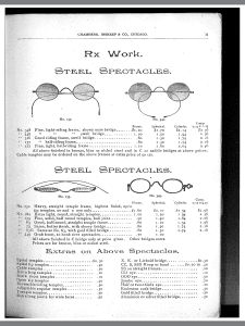 A page from the 1895 eyewear catalog